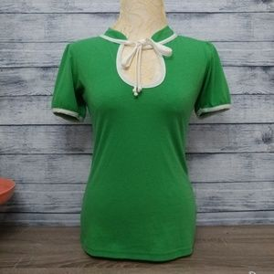Rockabilly pinup retro green short sleeve top